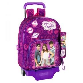 Violetta mochila con ruedas y estuche